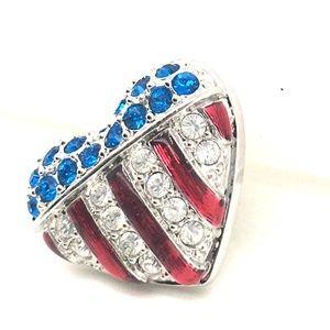 Swarovski Patriotic Heart Tie Tack / Pin / Brooch